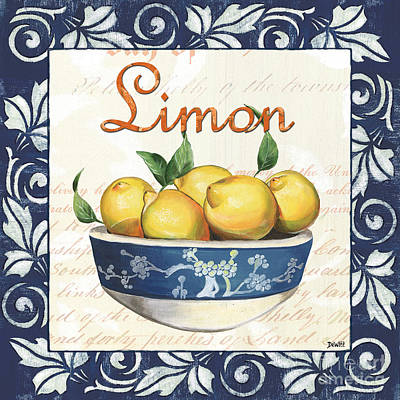French Country Painting - Azure Lemon 3 by Debbie DeWitt