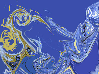 Digital Art - Azure Marbling by Gina Harrison