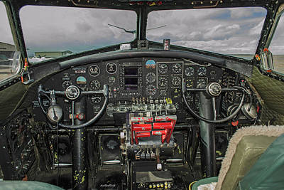 Photograph - B-17 Cockpit by Allen Sheffield
