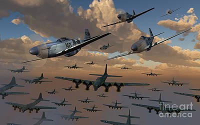 Large Group Of Objects Digital Art - B-17 Flying Fortress Bombers And P-51 by Mark Stevenson