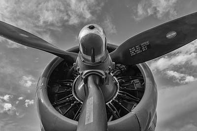 Photograph - B -17 Flying Fortress Propeller Black And White by Terry DeLuco