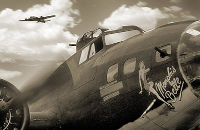 Tone Digital Art - B - 17 Memphis Belle by Mike McGlothlen