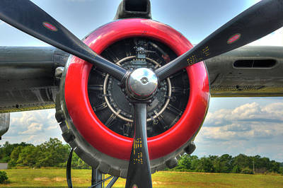 Photograph - B 25 Red Trimmed Engine by Gary Slawsky