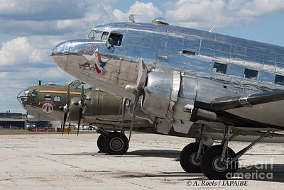 Photograph - B-17 Thunderbird  And Dc-3 Bluebonnet Bell by Antoine Roels