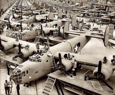 B-24 Bomber Production 1943 Art Print by Daniel Hagerman