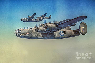 Bounce Digital Art - B-24 Liberator Bomber by Randy Steele