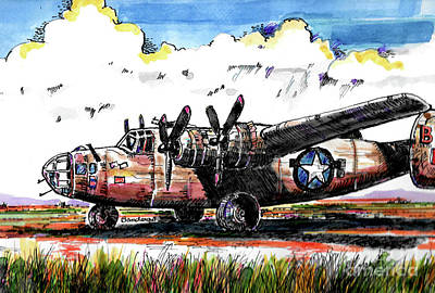 Painting - B-24 Liberator Bomber by Terry Banderas
