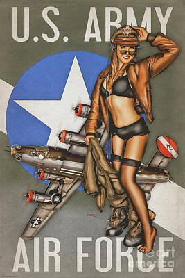 Bomber Jacket Digital Art - B-24 Liberator Pinup by Britt Dietz