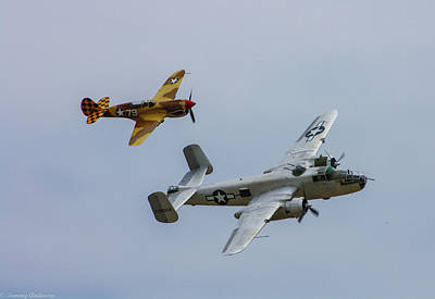 B-25 And Escort Art Print by Tommy Anderson