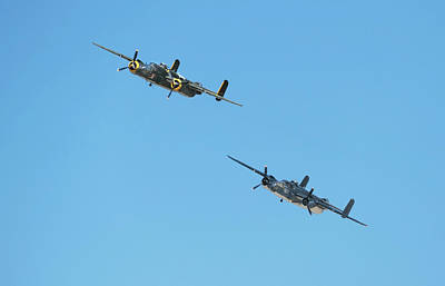 Photograph - B-25 Bomber Flyby by Joe  Palermo