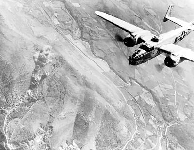 Transportation Photos - B-25 Bomber Over Germany by War Is Hell Store