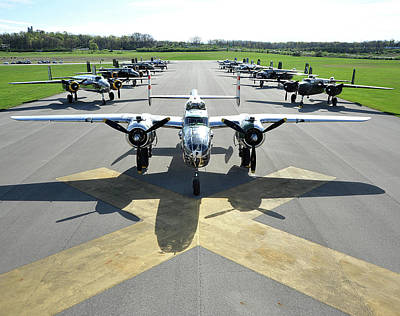 Photograph - B 25 Bombers Parked On The Runway Next To The National Musuem Of The Us Airforce Wright Patterson by Paul Fearn