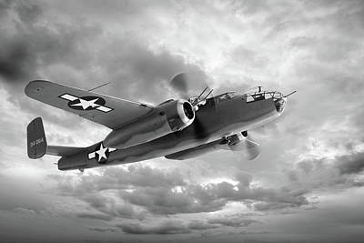 Photograph - B-25 Mitchell In Black And White by Gill Billington