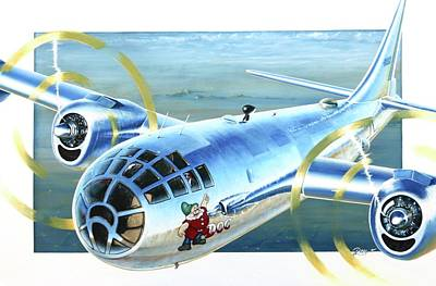 Acrylic Wall Art - Painting - B-29 Doc by Peter Ring Sr