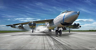 Digital Art - B-47 Stratojet Jato Takeoff by James Vaughan