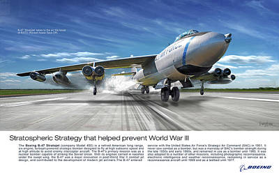 Digital Art - B-47 Stratojet Jato Takeoff Text by James Vaughan
