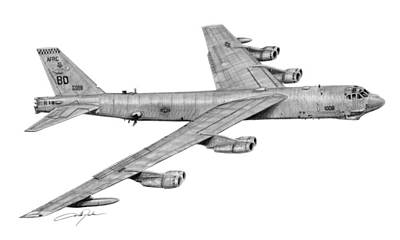 Bomber Drawing - B-52h Stratofortress by Dale Jackson