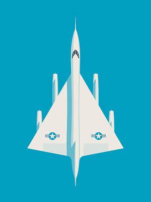 Air Force Poster Digital Art - B-58 Hustler Us Air Force Supersonic Jet Bomber - Blue by Ivan Krpan