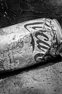 Photograph - B And W Coke Can by Michael Hope