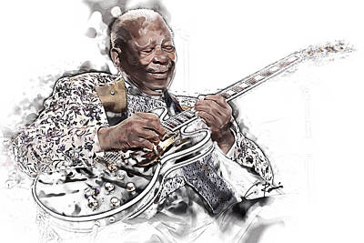 Digital Art - B B King by Charlie Roman