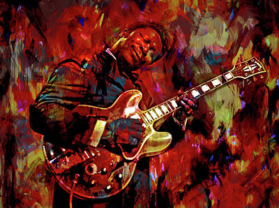 Musicians Mixed Media Royalty Free Images - B. B. King Royalty-Free Image by Mal Bray