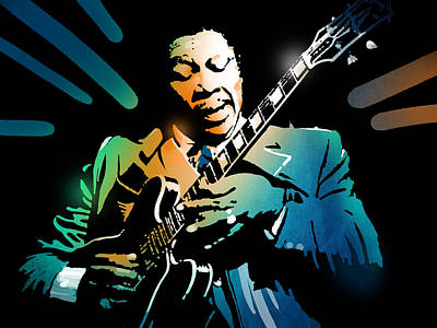 Painting - B B King by Paul Sachtleben