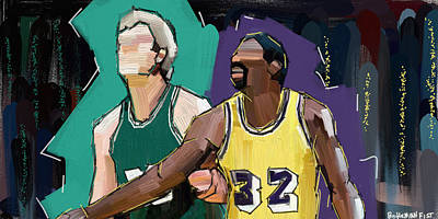 Larry Bird Digital Art - B-ball Legends #1 by DeVaughn Woods