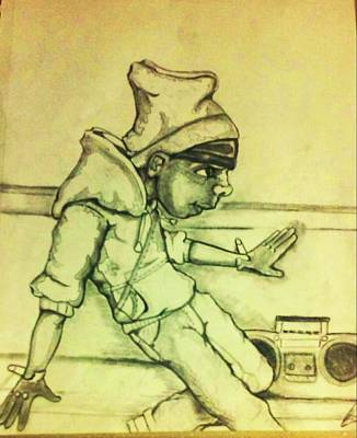 Hop Drawing - B Boy  by Brian  Brown