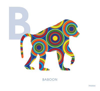 Ape Digital Art - B Is For Baboon by Ron Magnes