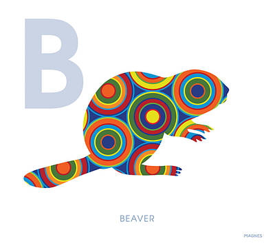 Beaver Digital Art - B Is For Beaver by Ron Magnes