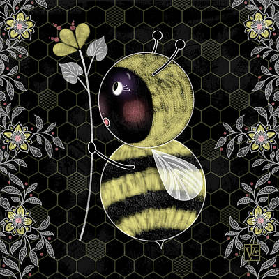 Drake Mixed Media - B Is For Bumble Bee by Valerie Drake Lesiak