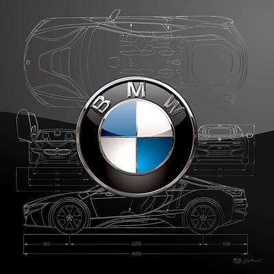 Rare Digital Art - B M W  3 D  Badge Over B M W I8 Silver Blueprint On Black Special Edition by Serge Averbukh