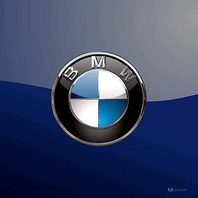 Digital Art - B M W  3 D Badge Special Edition On Blue by Serge Averbukh