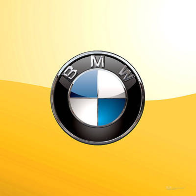 Digital Art - B M W  3 D Badge Special Edition On Yellow by Serge Averbukh