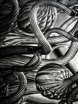 Photograph - B W Glass Sculpture Twist 4591 B W_2 by Steven Ward