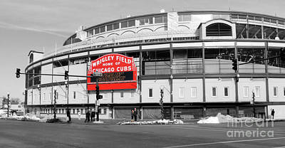 Professional Baseball Teams Photograph - B-w Wrigley 100 Years Young by David Bearden
