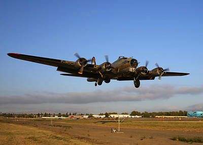 Photograph - B17 Flying Fortress On Short Approach At Livermore Airport by John King