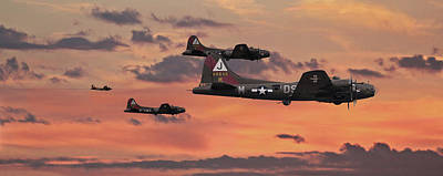 Art Print featuring the digital art B17 - Sunset Home by Pat Speirs