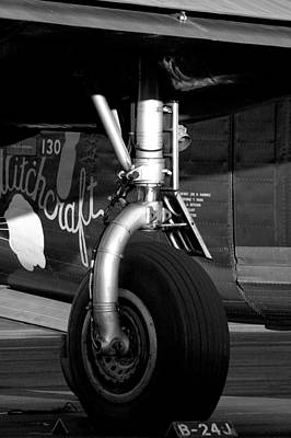 Photograph - B24 Landing Gear Monochrome by David Weeks