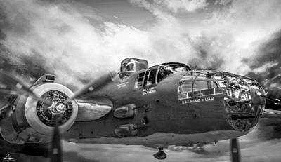 Photograph - B25 Mitchell Bomber In Black And White by Philip Rispin