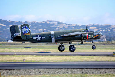 Photograph - B25 Mitchell Bomber Take Off At Livermore by John King