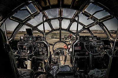 Superfortress Digital Art - B29 Superfortress Fifi Cockpit View by Chris Lord