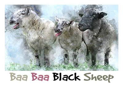 Mother Goose Digital Art - Baa, Baa, Black Sheep - Farm Animal Watercolor by Rayanda Arts