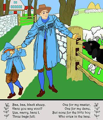 Painting - Baa, Baa, Black Sheep by Marian Cates