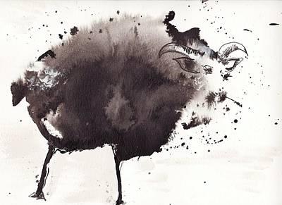 Baa Black Sheet Art Print