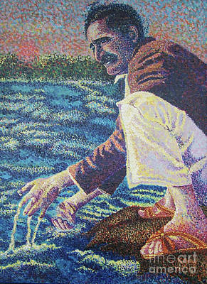 Baba Painting - Baba At The Narmada River by Kathleen Gray
