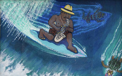 Baba Louie-surfing Sax Frisbee Player Art Print by Dickens Fourtyfour