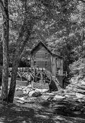 Grist Mill Photograph - Babcock Grist Mill Bw by Steve Harrington