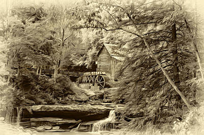 Grist Mill Photograph - Babcock State Park Wv - Sepia by Steve Harrington
