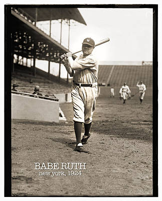 Photograph - Babe Ruth 1924 - Remastered by Carlos Diaz